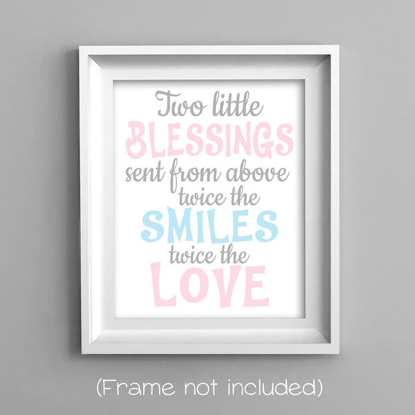 two little blessings twin nursery art