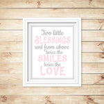 "baby girl twin nursery art print with saying ""two little blessings sent from above, twice the smiles, twice the love."""