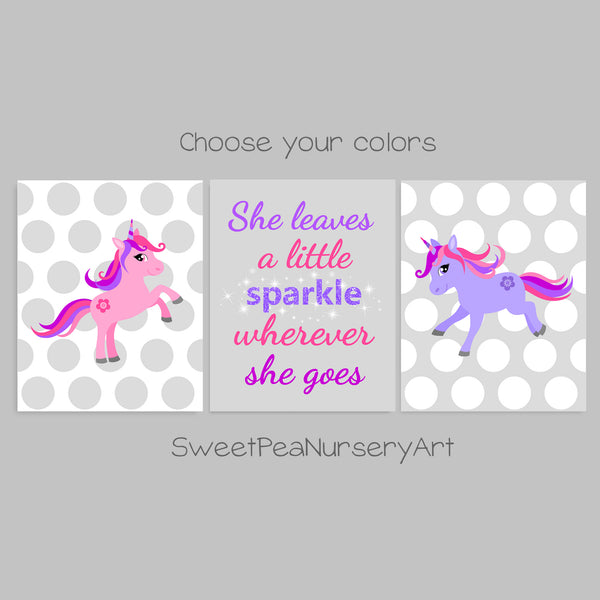 Pink and purple unicorn prints