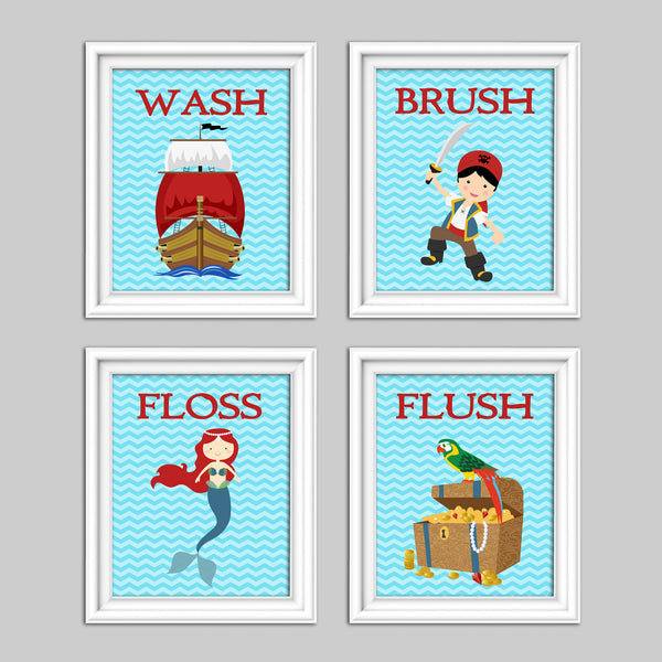Kids bathroom decor with a mermaid, pirate, pirate ship and treasure chest and the words WASH, BRUSH, FLOSS, FLUSH.