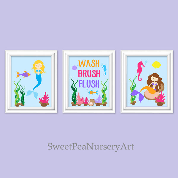 set of three mermaid bathroom pictures