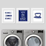 Set of 3 navy laundry room art prints