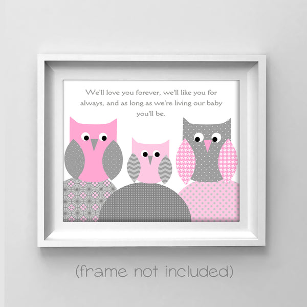 grey and pink owl nursery art