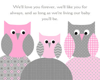 we'll love you forever owl nursery art