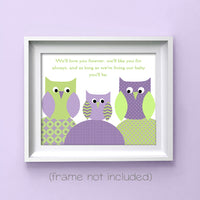 green and purple owl nursery print