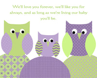 we'll love you forever nursery art with owls