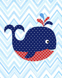 red and navy whale nursery art