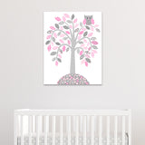 gray and pink owl nursery canvas