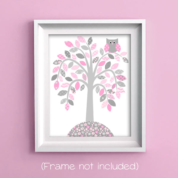 tree with owls gray and pink