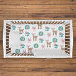 Woodland Fitted Crib Sheet | Standard or Mini | Pink and Teal | Baby Girl Nursery Bedding