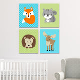 set of 4 woodland animal nursery art prints