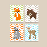woodland animal nursery decor with a fox, bear, raccoon, and deer