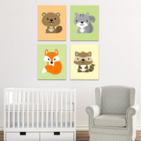 Set of four forest animal nursery canvas prints