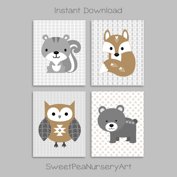 Tribal Woodland Animal Printable Nursery Pictures | Bear Squirrel Owl Fox | Instant Download