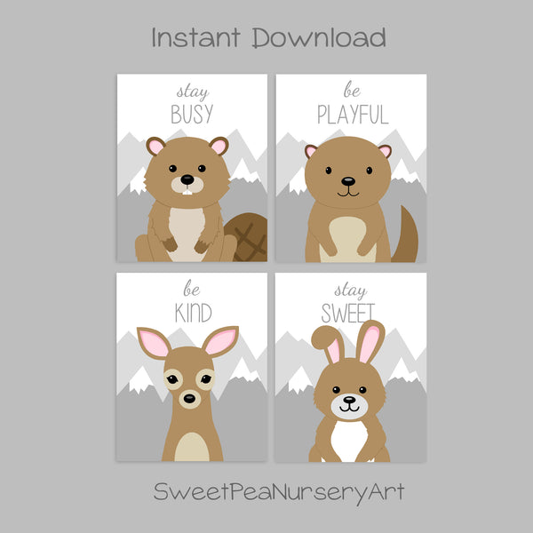 Printable woodland animal nursery art prints