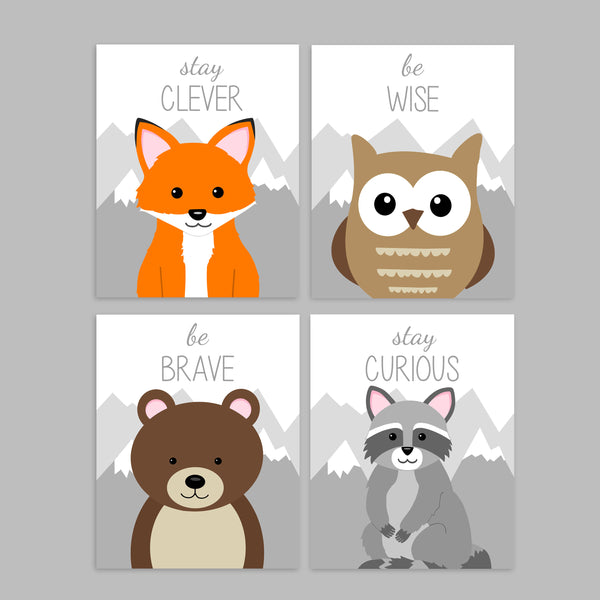 Printable Woodland Nursery Decor | Raccoon Fox Owl Bear | Print at Home | DIY | Digital Files