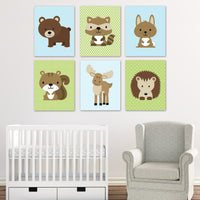 blue and green woodland animal nursery prints