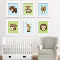 Set of 6 woodland animal nursery art prints