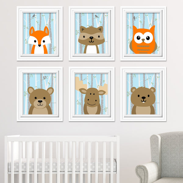 baby blue woodland animals nursery pictures