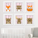 Woodland animal nursery prints in baby pink