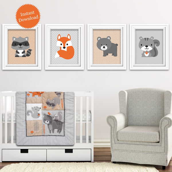 Printable Woodland Animal Nursery Pictures | Bear Squirrel Raccoon Fox | Instant Download