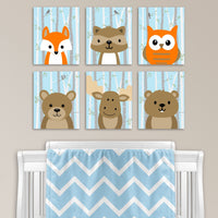baby blue woodland animal nursery prints