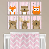 Set of six woodland animal nursery canvas prints baby pink