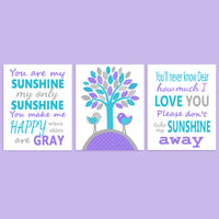 Purple and turquoise nursery prints
