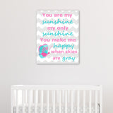 aqua and pink you are my sunshine canvas print with butterfly
