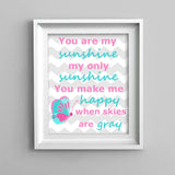you are my sunshine print with butterfly