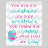 you are my sunshine canvas art with butterfly