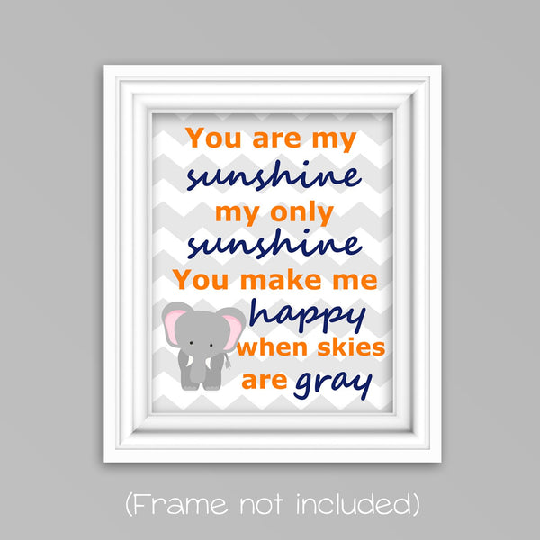 You are my sunshine elephant nursery print