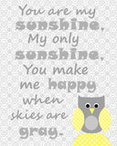 You are my sunshine owl print for baby girl