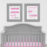 fucshia and gray you are my sunshine nursery prints
