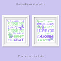 you are my sunshine butterfly prints