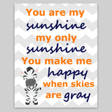 you are my sunshine canvas with zebra
