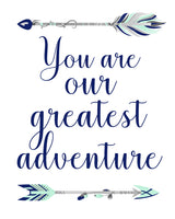 you are our greatest adventure nursery print in mint and navy