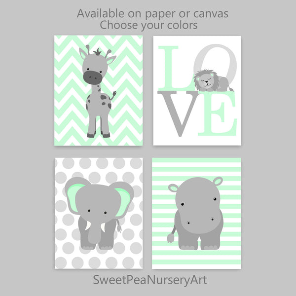 set of four grey and mint nursery zoo animal prints