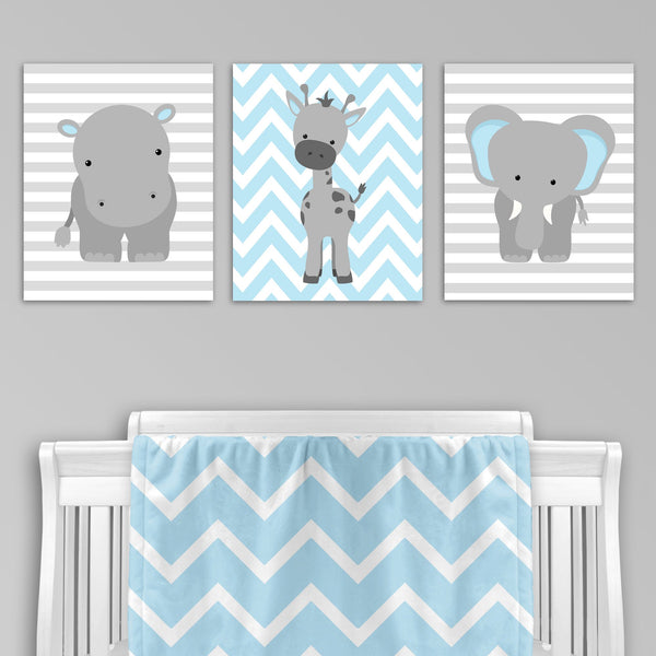 set of three blue and grey zoo animal nursery prints