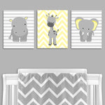 Gray and yellow zoo animal canvas prints