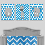 blue and grey jungle animal nursery canvas prints