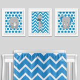 blue and gray zoo animal nursery art