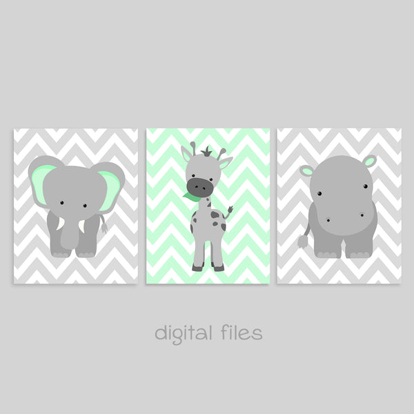 set of three zoo animal nursery digital files