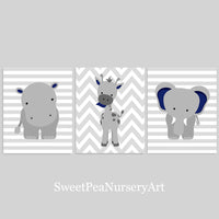 Set of 3 gray and navy zoo animal art prints with a hippo, elephant and giraffe