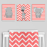 coral and gray zoo animal nursery canvas art