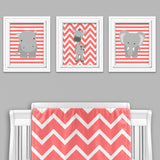 coral and gray jungle animal nursery art prints