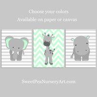 set of three zoo nursery art prints in grey and mint