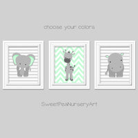 mint and gray zoo nursery animal pictures