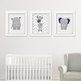 navy jungle animal nursery prints