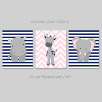 Navy and pink zoo animal pictures